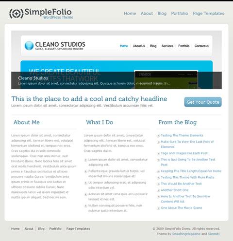 SimpleFolio theme gratis wordpress