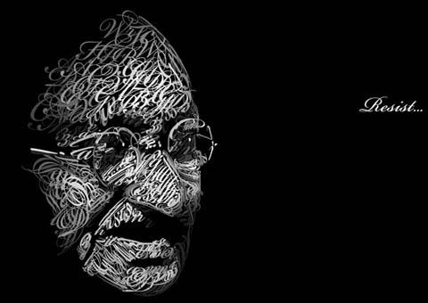 Mahatma Gandhi in Type by Dencii