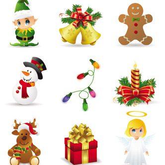vectores de objetos de navidad