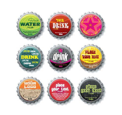 tapas de botellas vectorizadas