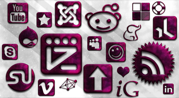 glassy-space-social-networking-icons