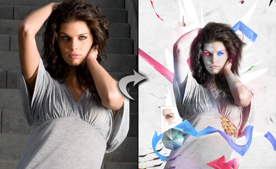 30 tutoriales photoshop colorful illustration photo effect montage