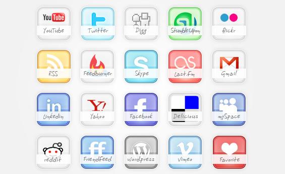 glossy social icon