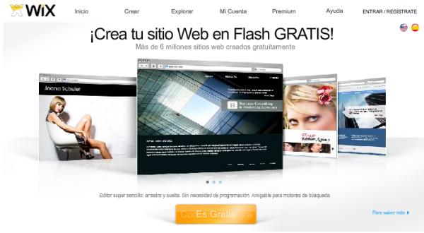 wix, crear sitios web en flash fácil gratis rápido