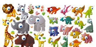 caricaturas de animales vectorizados