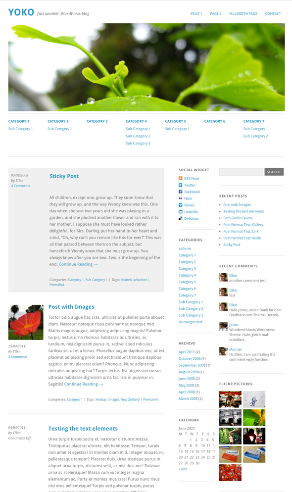 preview wordpress theme yoko