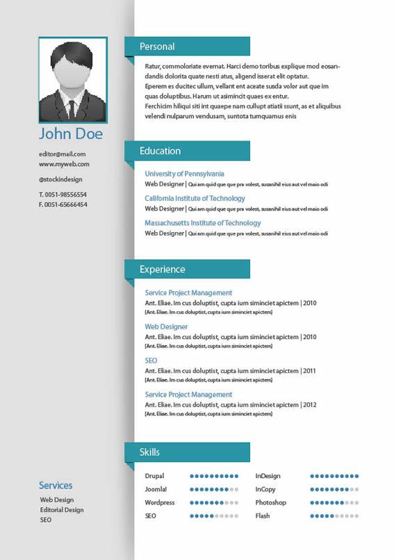 template de curriculums para imprimir en indesign puerto