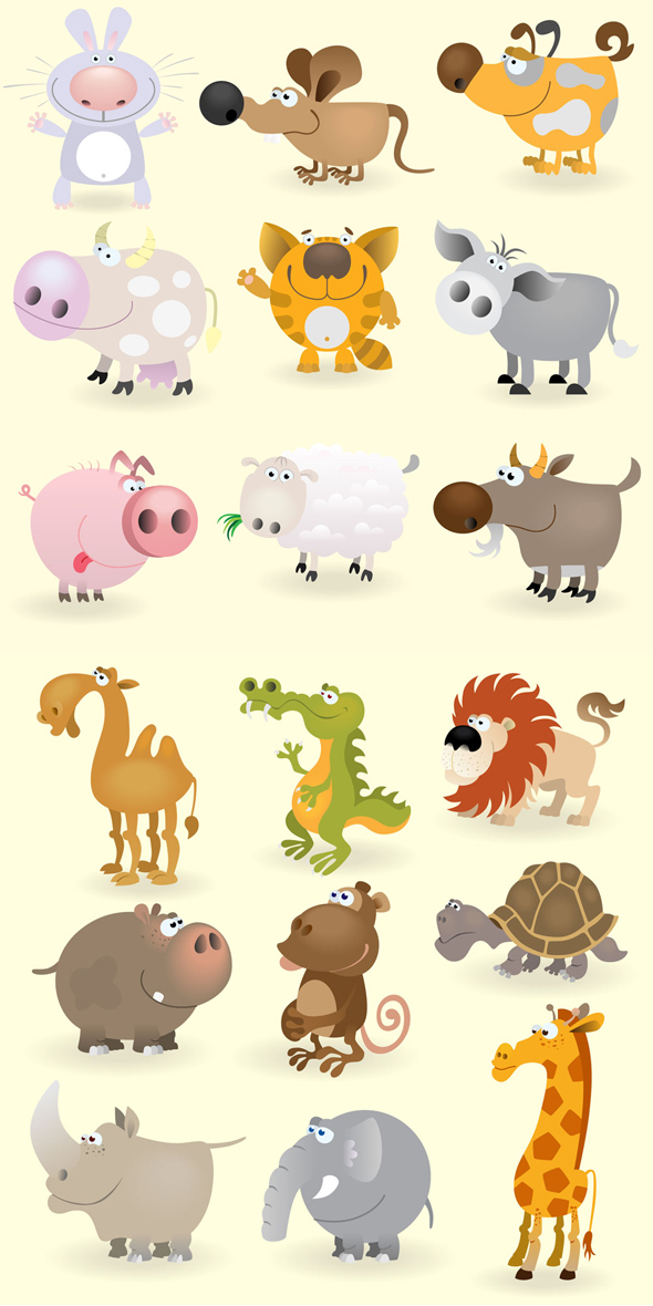 Dibujos de animales vectorizados con estilo cartoon - Fotos de animales infantiles ...