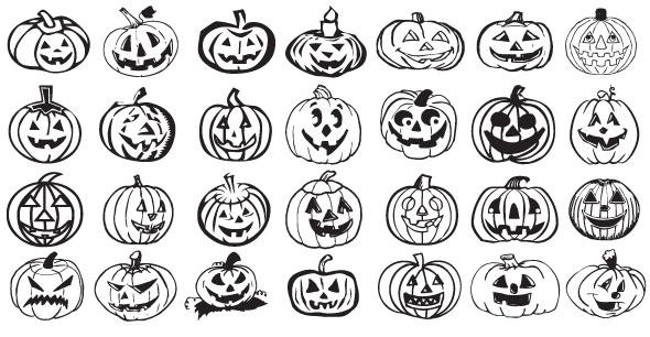 5 sets de siluetas vectorizadas de halloween - Disenos de calabazas de halloween ...