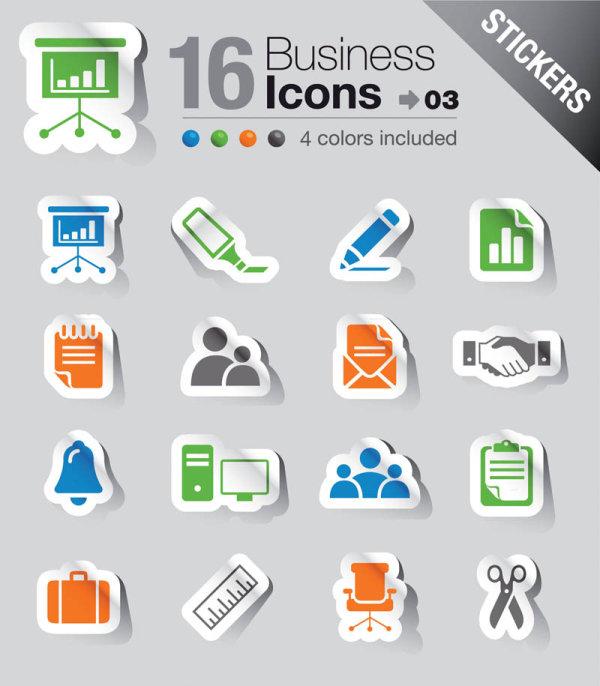 Iconos vectorizados de negocio con estilo stickers