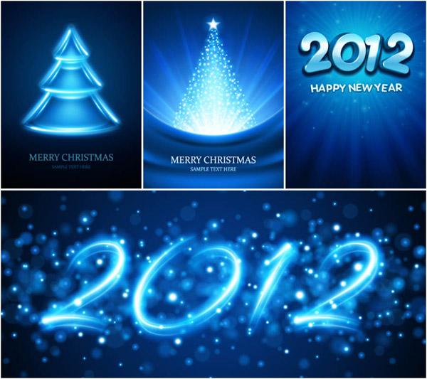 tarjetas azules de navidad vectorizadas