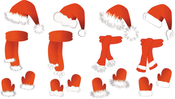 vectores de gorros, guantes y bufandas para navidad