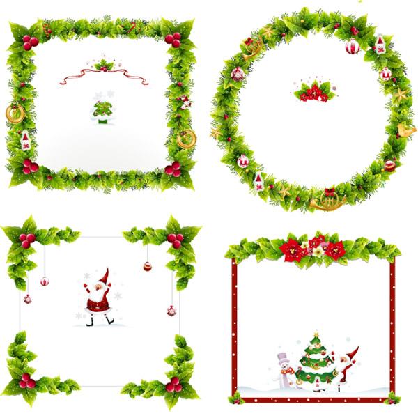 Ornamentos y marcos vectorizados para navidad - PuertoPixel.com