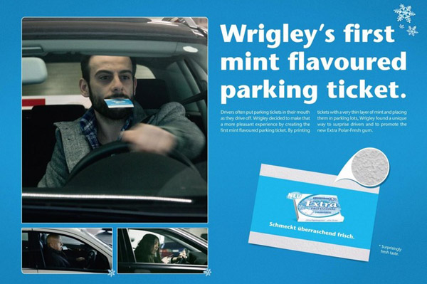 wrigleys ticket creativos con sabor a menta