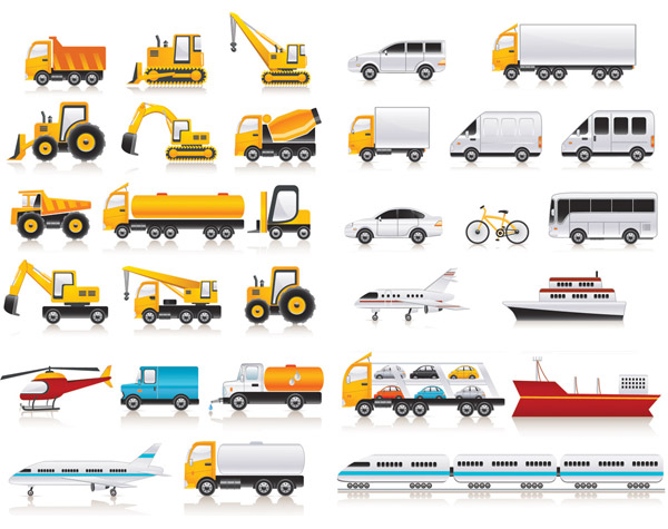 iconos de veh culos de transporte vectorizados
