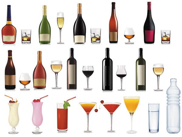 vasos, copas y botellas vectorizadas