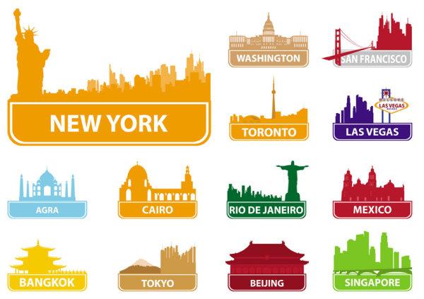 Siluetas Vectorizadas De 59 Monumentos Del Mundo