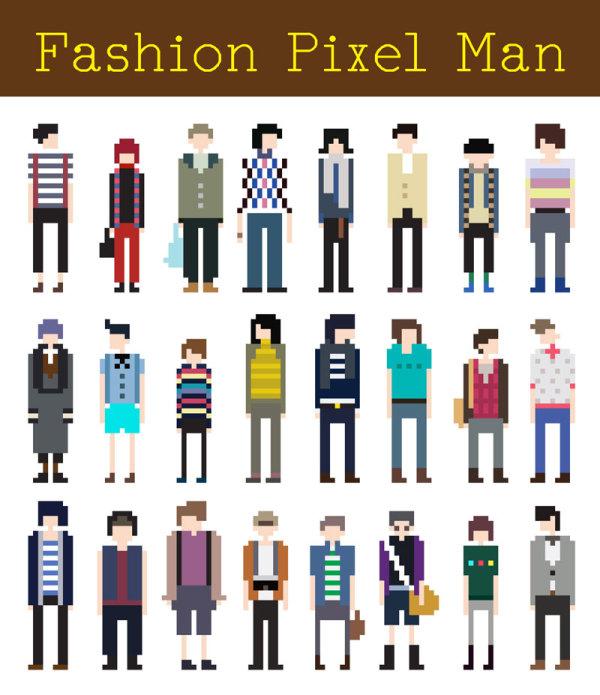 Personas vectorizadas pixeladas