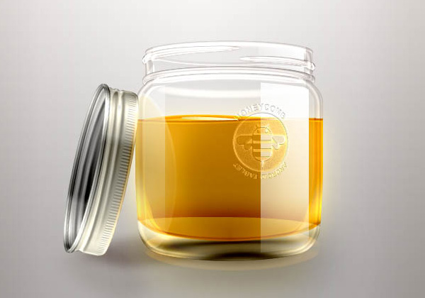 frasco de miel en psd