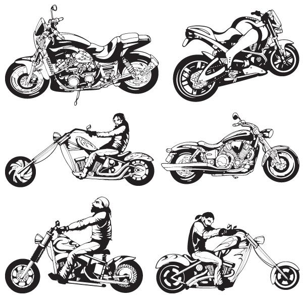 250 Vectores Con Siluetas Formas Y Accesorios De Motos