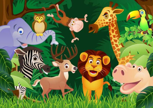 Vectores de la selva, animales, plantas y más