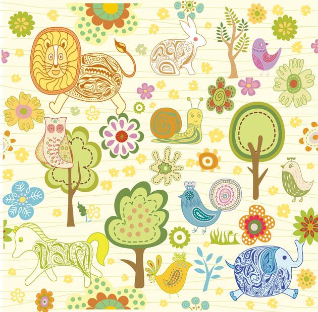 Dibujos infantiles con animales flores y plantas en - Imagenes animales infantiles ...