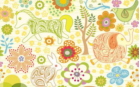 Dibujos infantiles con animales, flores y plantas en formato ...