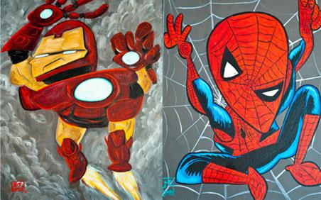 pinturas de superh roes inspirados en pablo picasso