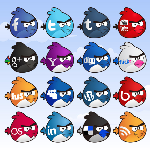 iconos sociales angry birds