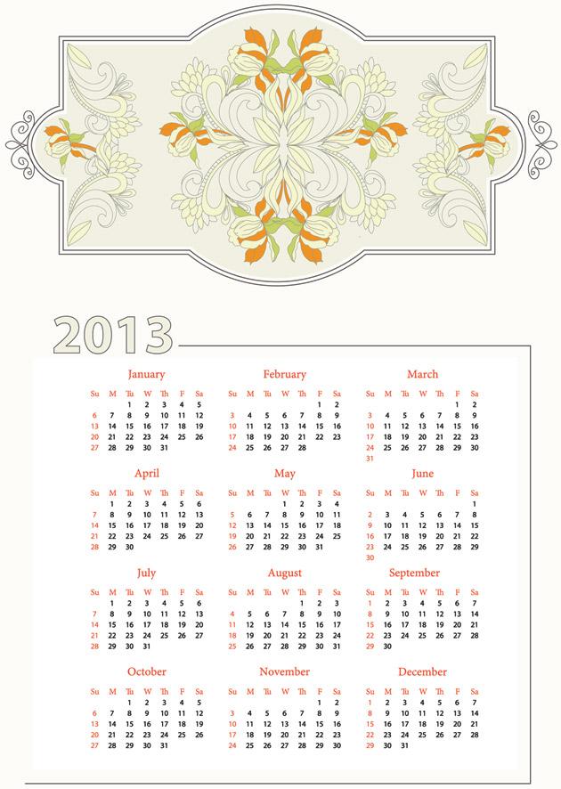 Calendarios 2013 vectorizados