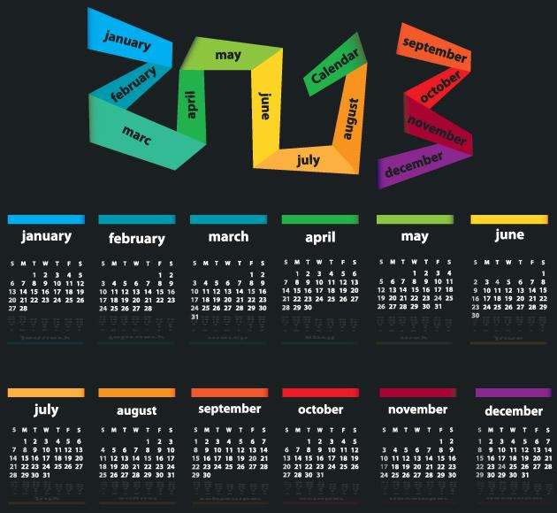 5 opciones creativas de calendarios 2013 vectorizados - Disenos de calendarios ...