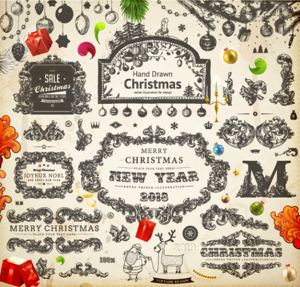 RESOURCES vintage retro vector merry christmas
