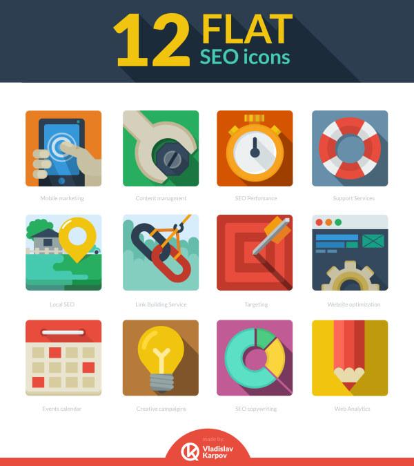 12 iconos flat seo