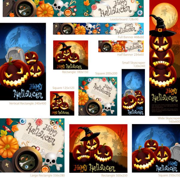 6 - banners vectorizados halloween
