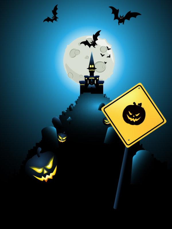 9 - paisaje vector halloween