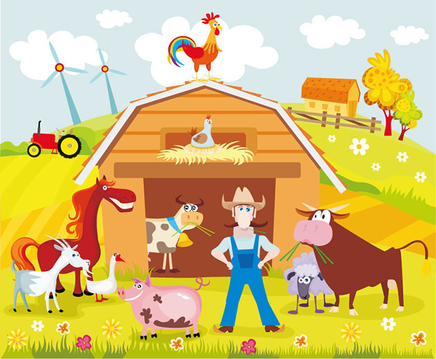 Cartoon-Farm-Estate-Vector