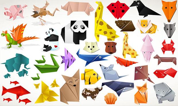 animales vectorizados con estilo origami. Black Bedroom Furniture Sets. Home Design Ideas