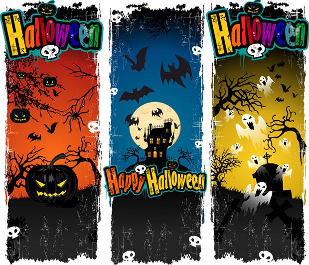 banners de halloween vectorizados