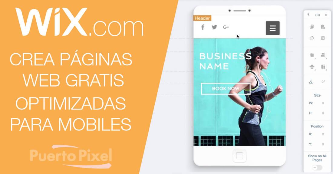 Crear sitios web gratis para móviles con Wix