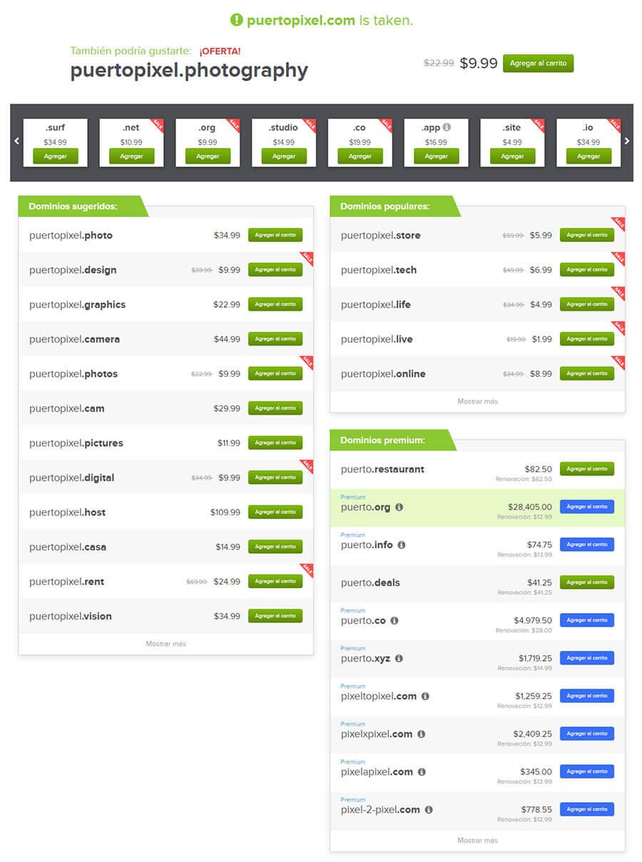 ejemplos de dominios
