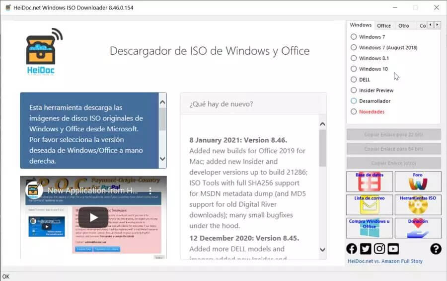 Microsoft Windows and Office ISO Download menu