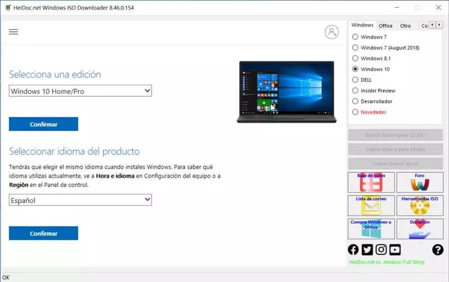 Microsoft Windows and Office ISO Download seleccionar edicion e idioma